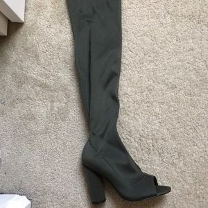 Over the knee khaki / olive green thigh boots